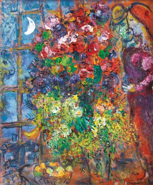 Les amoureux aux fleurs devant la fenêtre 1960 marc chagall