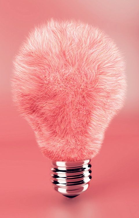 Fluffy lamp bulb in pink :)
